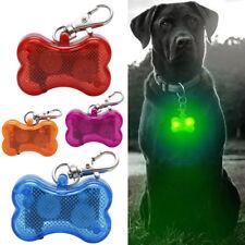 LED Dog Tag Collar Light Up Pet Puppy Flashing See Dark Bone Night Pendant Charm