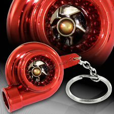 Universal Red Chrome Turbo Charger Bearing Spinning Turbine Key Chain Ring FOB