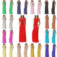 WCSPPM Ladies Women Cap sleeve Polka Dot Maxi Casual Long Dress with Pockets