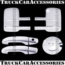 For CHEVY Silverado 2500/3500HD 2014 Chrome Covers Towing Mirrors+2 Doors+Gas