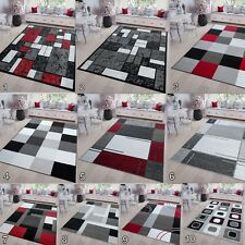 New Modern Geometric Soft Pile Area Rugs for Living Room Bedroom in Grey Red