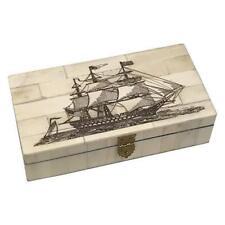 Sailing Ship Scrimshaw Bone Trinket Jewelry Box Antique Vintage Nautical Decor