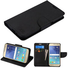 SAMSUNG GALAXY J2 2016 FULL BLACK FLIP JACKET WALLET POUCH CASE HYBRID COVER
