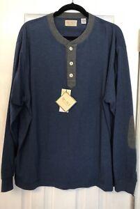 MINE London Milan NY Men's Henley Collar Long Sleeve Shirt Patch Elbows XL NWT