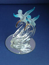 Stunning Pair of love birds Art Clear & Frosted Glass Sculpture on Mirror Base