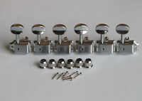 6 Inline Strat/Tele Vintage Guitar Tuning Key Guitar Tuners Machine Heads Chrome