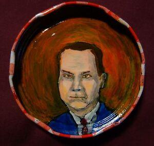 JOHN KENNEDY TOOLE Jam Jar Lid Portrait, New Orleans Outsider Art by PETER ORR