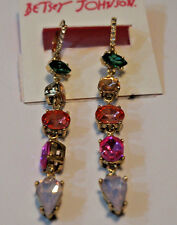 Betsey Johnson with multi-color crystal stones, beautiful dangle earrings