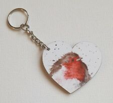Handmade Wooden Heart Keyring Keychain Gorgeous Wrendale Christmas Robin Print
