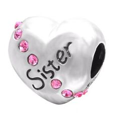Sister Heart Shape 925 Sterling Silver Charm Bead