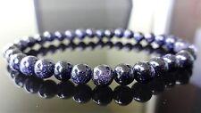 "Galaxy Blue Sun Sitara Stone bead bracelet for MEN or WOMEN (Stretch) 6mm - 7.5"""
