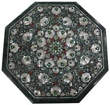 """18"""" Green marble table top semi precious stones floral inlay work"""
