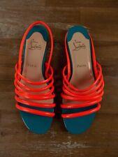 $625 CHRISTIAN LOUBOUTIN Vildo Flat orange patent sandals Size 9.5 US / 39.5 EU