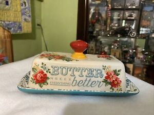 The Pioneer Woman Vintage Floral Butter Dish with Teal Base Red Knob Handle