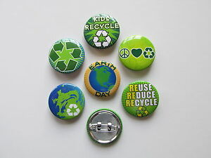 48 EARTH DAY PINS mini button pins GO GREEN recycle REUSE reduce APRIL AWARENESS