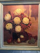 Vintage Artist Signed Still Life Fruit Flowers Floral Oil Painting