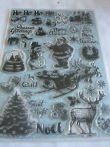 **Craft Room Clear Out**  Christmas Themed Rubber Stamp - 33 Pieces