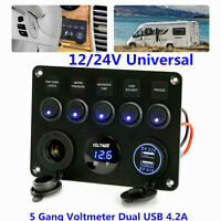 5 Gang On-Off blue LED Toggle Switch Panel Voltmeter Dual USB Car Boat Marine US