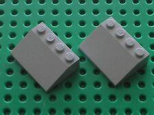2 x LEGO Oldgray Slope Brick roof ref 3297 / Set 7740 7725 7710 7818 7730 10129