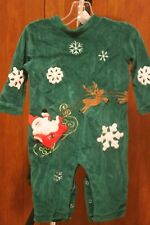Baby Christmas Outfit 12 Months. Boy Or Girl. Cozy, Green, Santa, Reindeer EUC