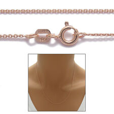 925 Sterling Silver Rose Gold Rolo Chain Necklace 0.7mm 020 - 16""