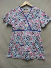 V5306 Liana Uniform Pink/Blue/White Geometric Scrub Shirt Women M