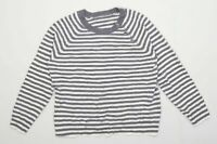 BHS Womens Size 16 Striped Grey Button Detail Jumper (Regular)