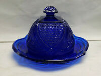US GLASS Pressed MASSACHUSETTS Pattern/COBALT BLUE - Round Covered BUTTER DISH