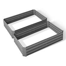Greenfingers 2x 120x90cm Galvanised Steel Raised Garden Bed Planter - Grey
