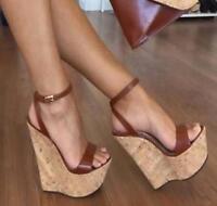 Womens Super High Wedge Platform Ankle Strap Sandal Pumps Nightclub Shoes US4-13