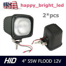 Pair 4inch 55W HID Xenon Work Light Flood 12V ATV Truck UTE Lamp Offroad Boat