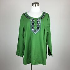 Denim & Co 1X Blouse Popover Green Round Neck Button Embroidery Long Sleeve