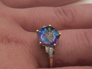 Glen Lehrer Quasar Cut Mystic Topaz 3.8ct & Diamond Ring Set in 9K Gold