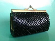 Vintage Black Leather Change Coin Purse With Snap Closure Circa