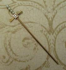Gorgeous Antique Diamond Pearl 14k Gold Stick Scarf Pin Sword