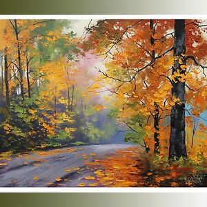 gGercken LARGE Autumn Oil painting FALL TREES ART ROAD TRAIL Traditional Art