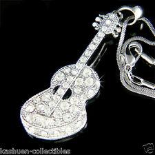 Big w Swarovski Crystal Music Folk ~ACOUSTIC GUITAR Jewelry Pendant Necklace New