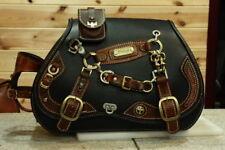 100% handmade custom design solo leather Saddle side Bag black brown saddlebag