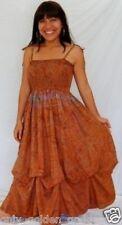 tan dress maxi smocked balloon lagenlook spaghetti strap
