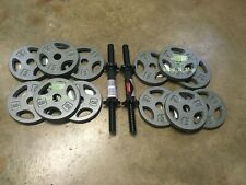"60LB Dumbbell Weight Plate Set- 12x 5LB Standard 1"" Plates + Adjustable Handles"