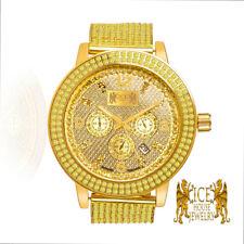 Canary Gold Real Diamond Ice House Joe Rodeo Tone Steel 2 Row Bezel Custom Watch