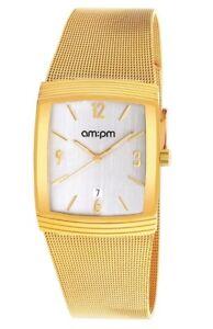 New AMPM Men's Quartz Watch PD134-G160 Yellow IP Steel Case And Bracelet