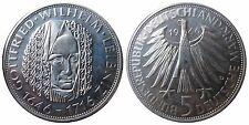 J394  5 DM Gedenkmünze Gottfried Wilhelm Leibnitz von 1966 G in  f.STG