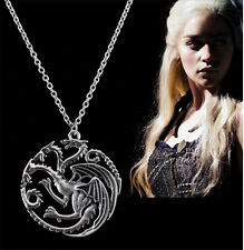 Blueness Song Of Ice Fire Game Of Throne Targaryen Dragon Badge Necklaces XP039