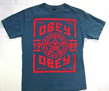 Mens Obey T-Shirt Size M Blue Red Graphic Short Sleeve Cotton S14