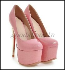 Vogue Ladies Round Toe Platform Pumps Super High Stiletto Heels Slip On Shoes SZ
