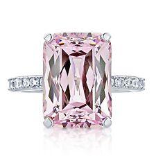 Women Fashion Silver Filled Princess Cut Pink Kunzite Proposal Wedding Jewelry