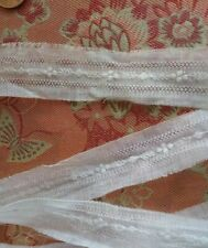 Tiny sheer Embroidered Lace Trim vintage 2.5 yards insertion