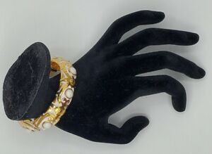 Jose & Maria Barrera Sculpted Hammered Bangle with White Glass Stones $345.00