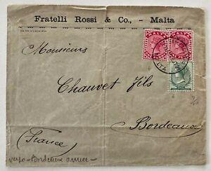 1899 2X 1p 1/2p Valletta Malta to Bordeaux France See Photos